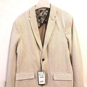 Zara Jacket Blazer Sports Coat Herringbone NWT